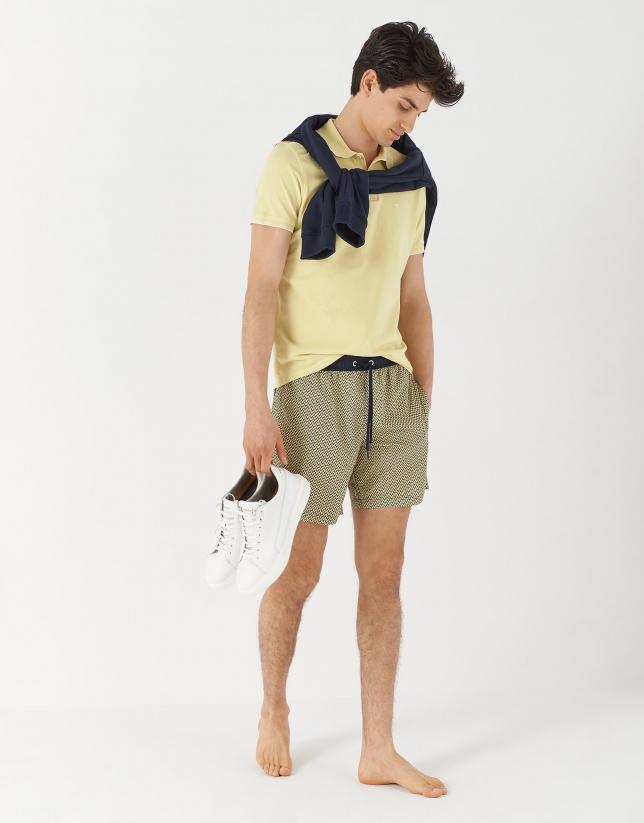 Bañador estampado corbatero marino/amarillo