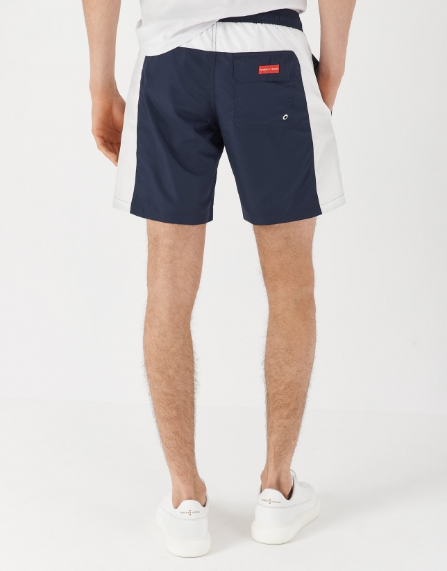Navy blue and white bathing trunks
