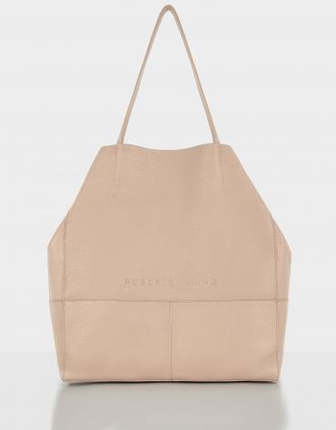 Bolso shopper Megan piel granulada beige