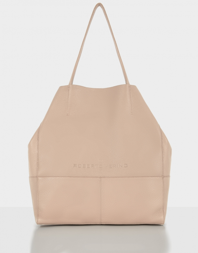Beige grainy leather Megan shopping bag