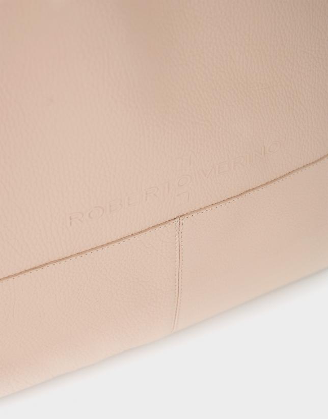 Beige grainy leather Megan shopping bag