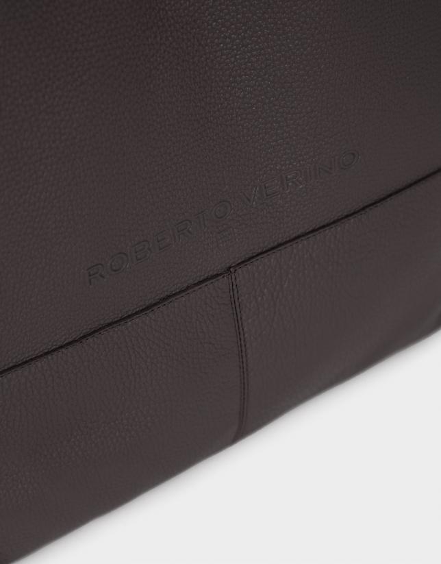Brown grainy leather Megan shopping bag