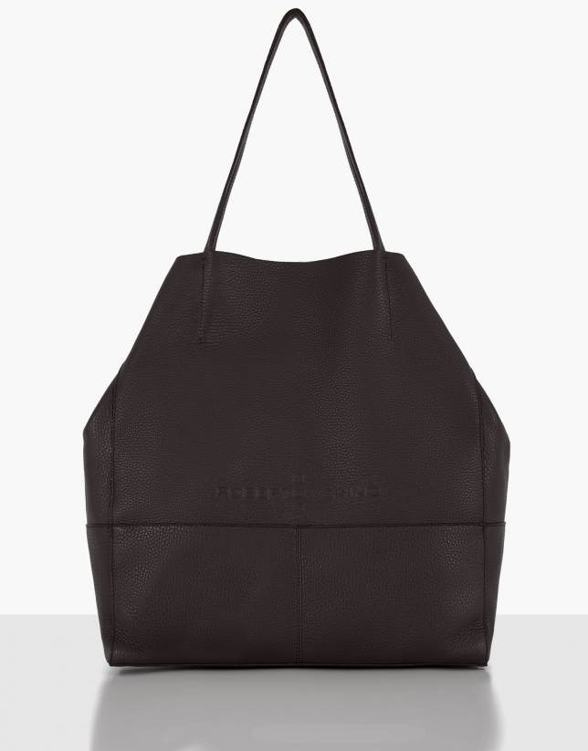 Bolso shopper Megan piel granulada marrón