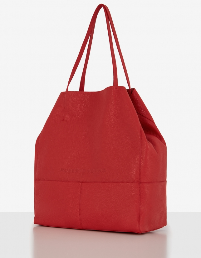Red grainy leather Megan shopping bag