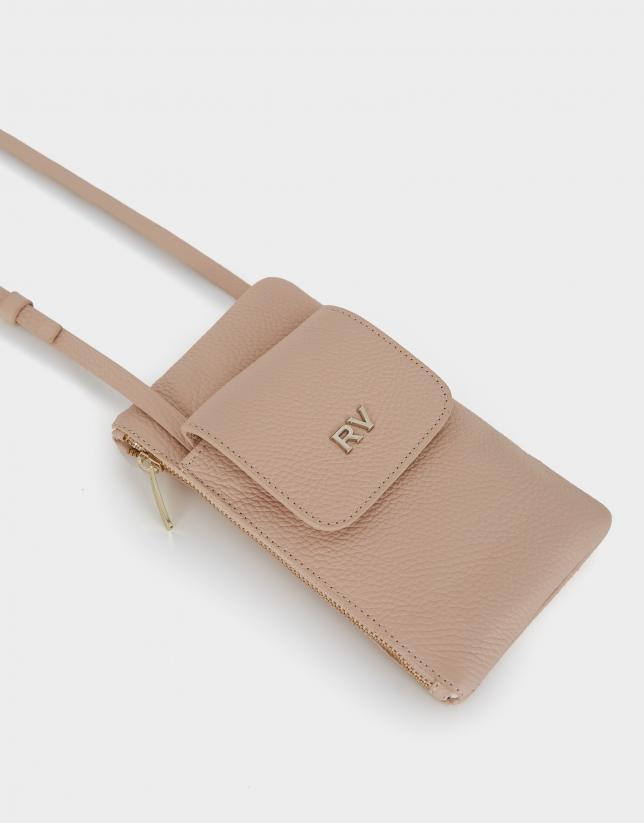 Beige grainy leather cellphone bag