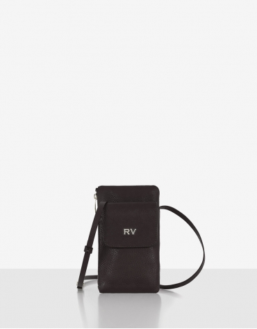 Brown grainy leather cellphone bag