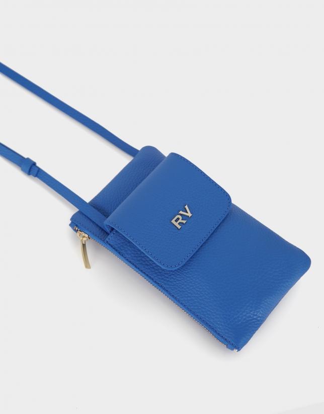 Cartera porta móvil piel granulada azul