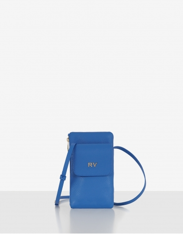Blue grainy leather cellphone bag