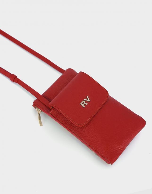 Cartera porta móvil piel granulada roja