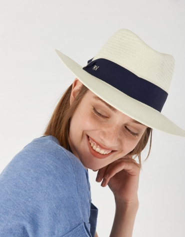 Sombrero fibras vegetales crudo cinta azul