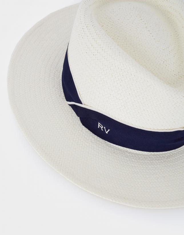 Cream natural fiber hat with blue ribbon
