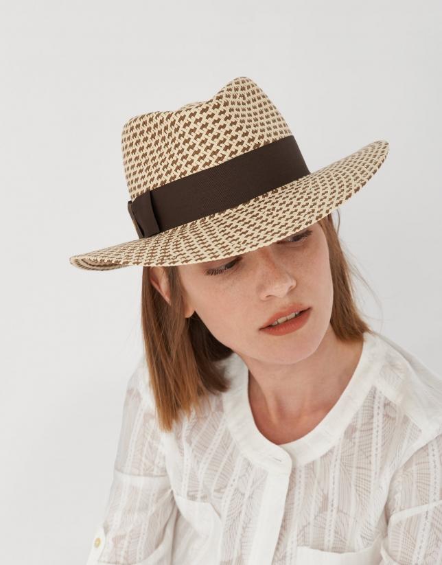 Sombrero bicolor marrón