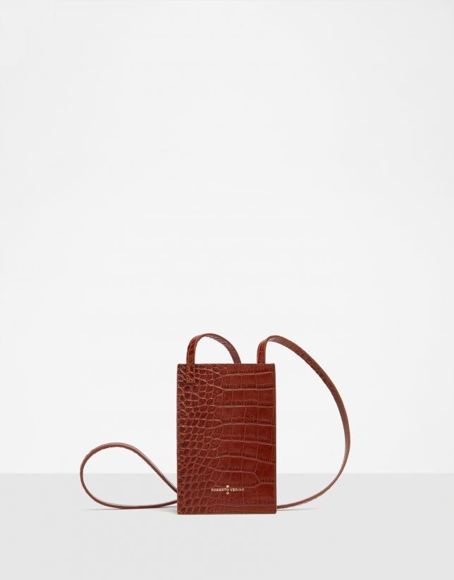 Brown alligator embossed leather cellphone bag