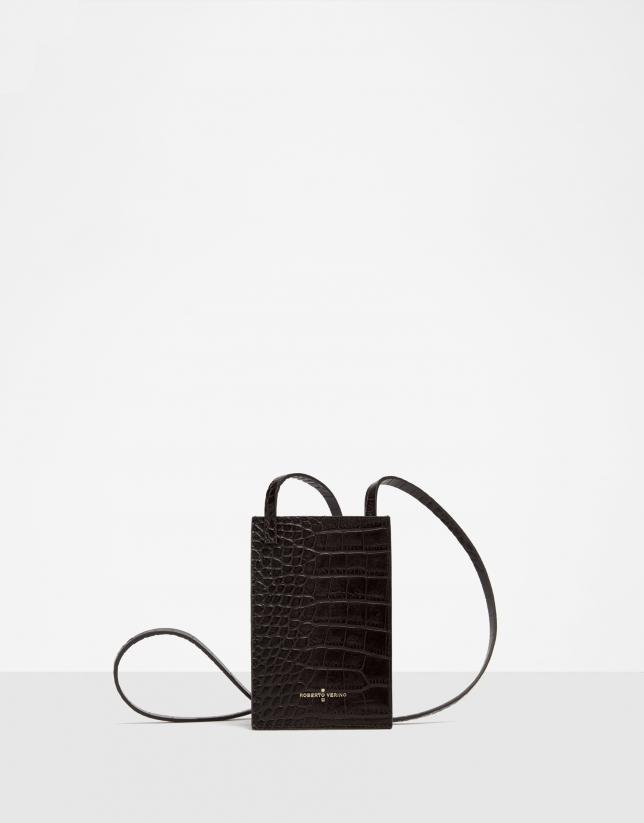 Black alligator embossed leather cellphone bag