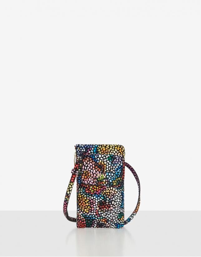 Multicolor leather cellphone bag