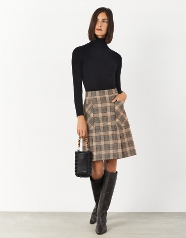 Brown checked pleated skirt