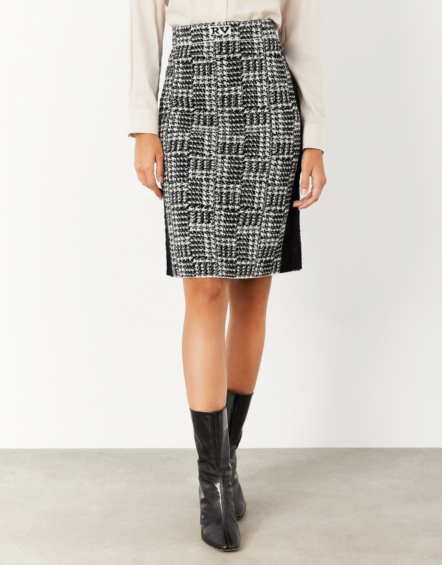 Straight jacquard knit skirt with houndstooth pattern