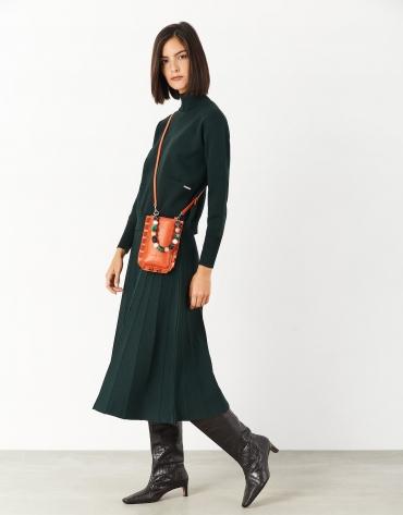 Green knit midi pleated skirt