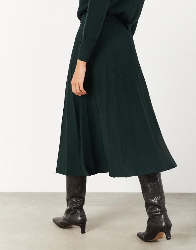 Falda midi plisada punto verde