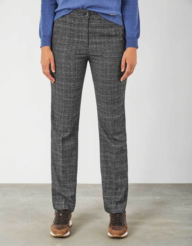 Straight gray and camel glen plaid pants