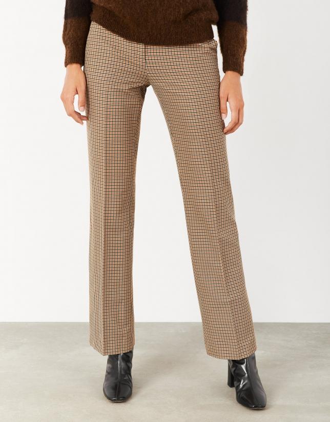 Pantalón recto cuadro cámel/beige