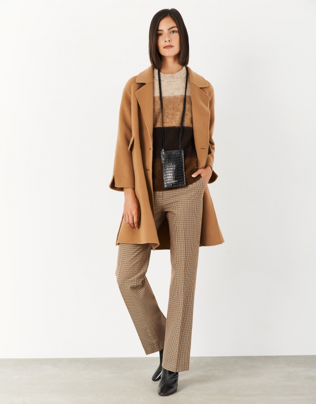 Camel and beige checked straight pants