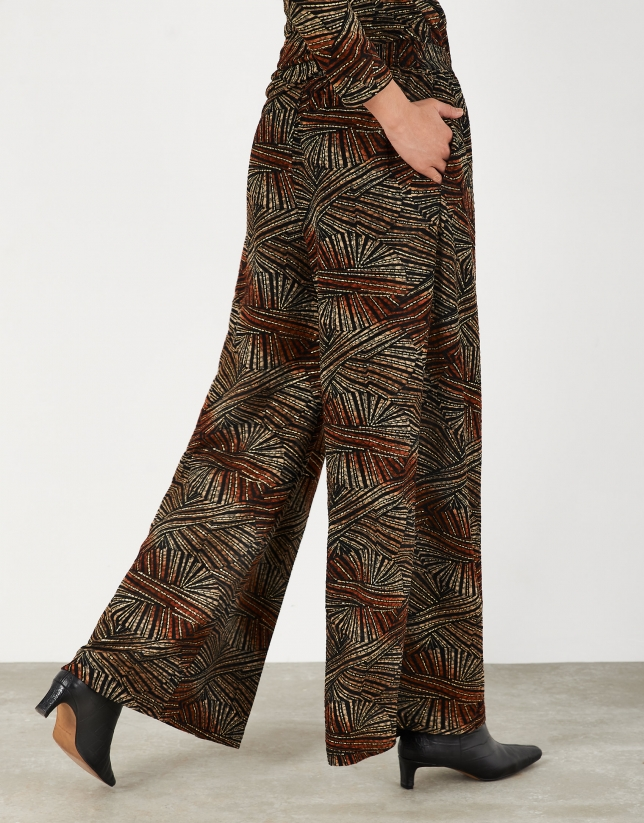 Red and gold print knit palazzo pants