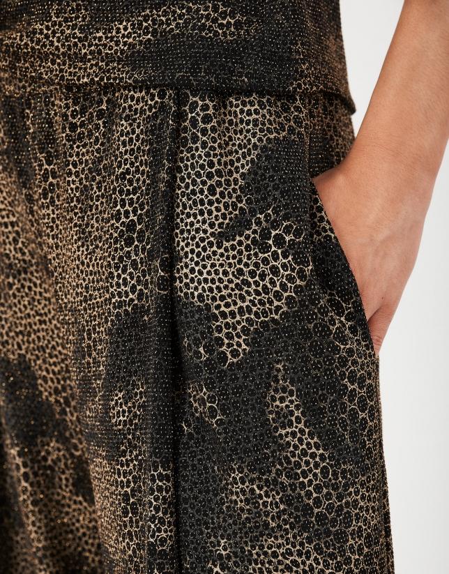 Brown print knit palazzo pants
