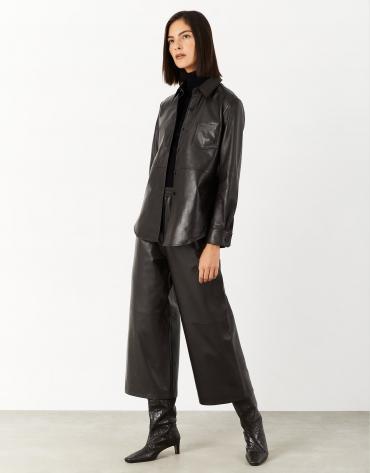 Dark brown leather culotte pants