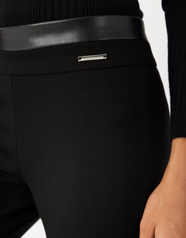 Black knit leggings with slits
