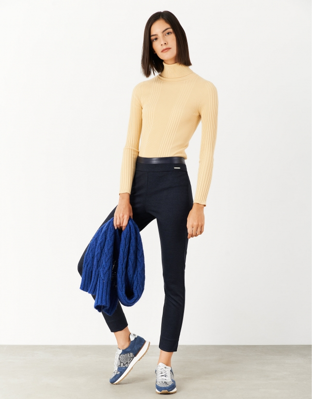 Navy blue knit leggings with slits