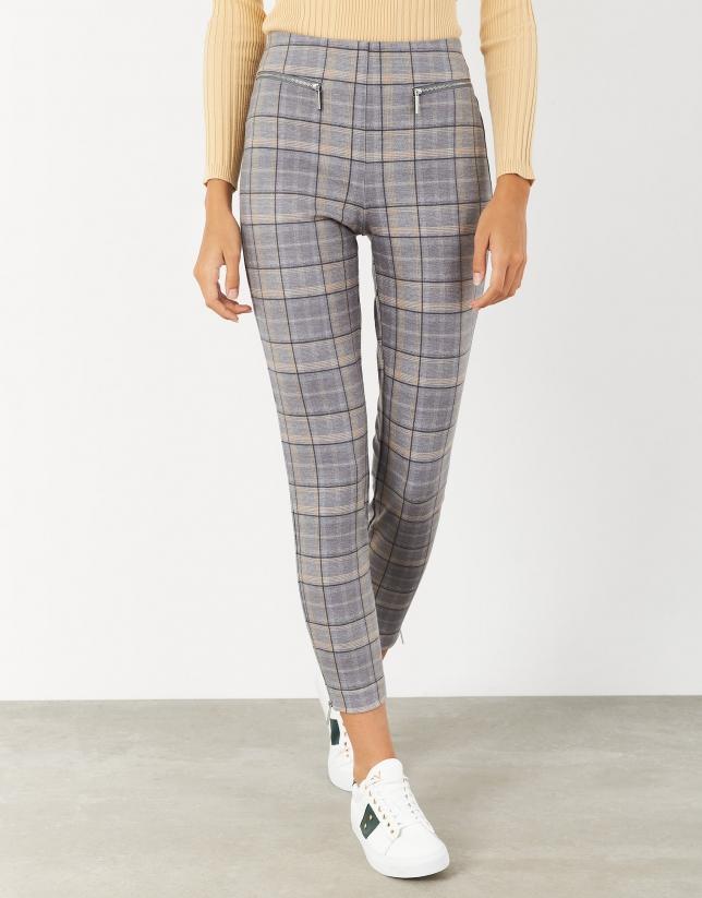 Gray and yellow glenplaid knit pants