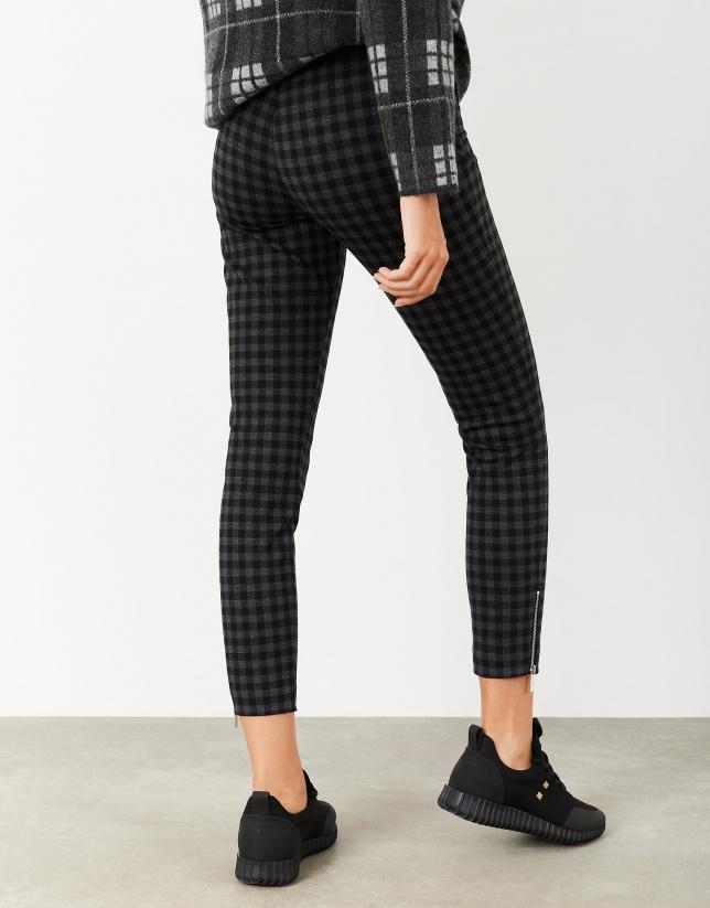 Gray checked knit pants