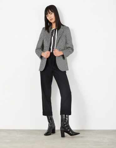 Black wide-cut pants with side ribbon tie