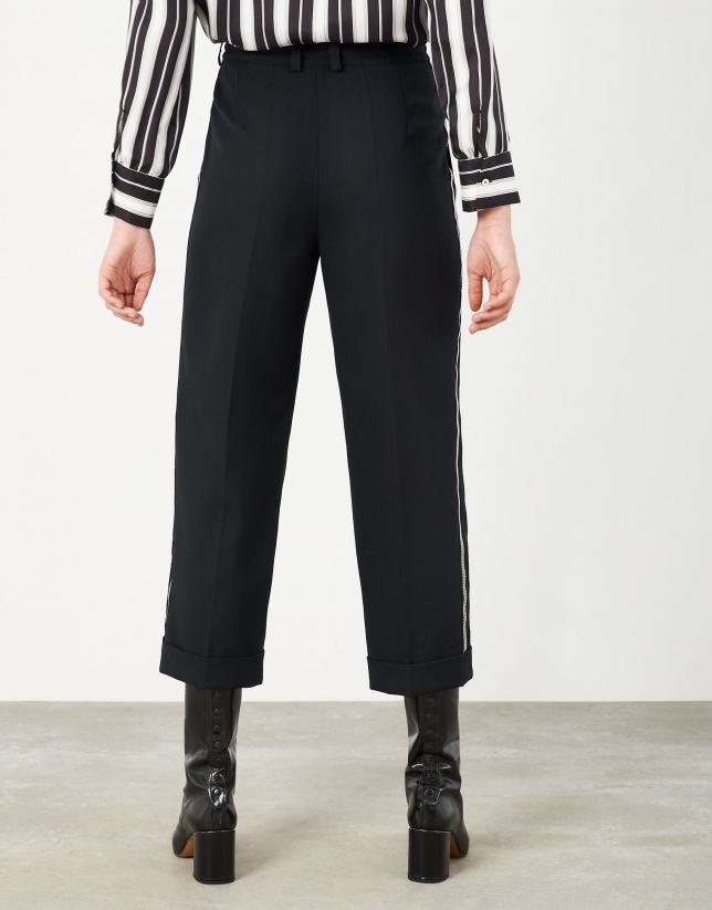 Pantalón ancho de atar negro cinta lateral