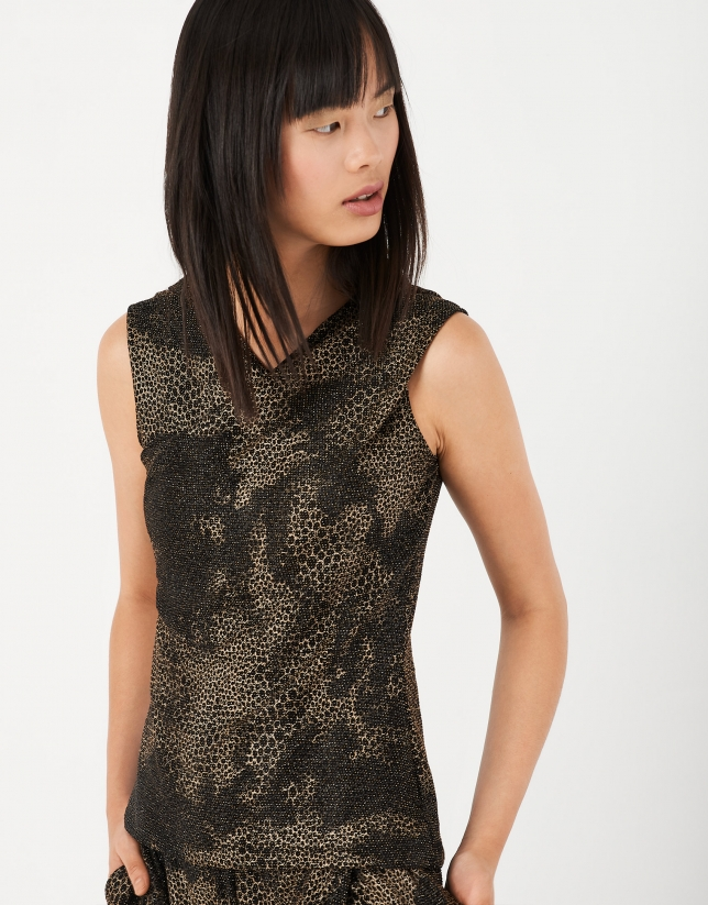 Brown print knit top with crossover front