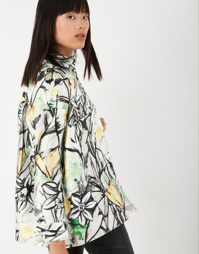 Sobrecamisa estampado floral tonos verdes