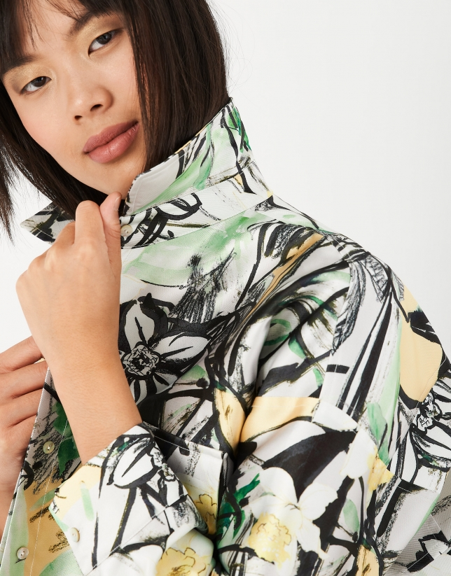 Overshirt with green floral print