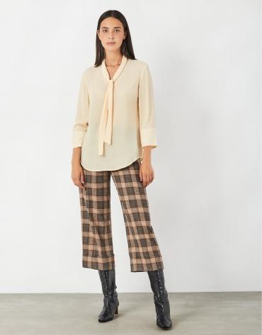 Blusa manga francesa cuello lazada vainilla