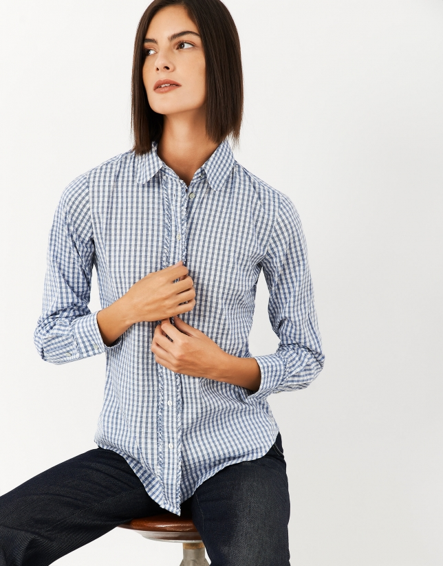 Blue checked shirt with flounces