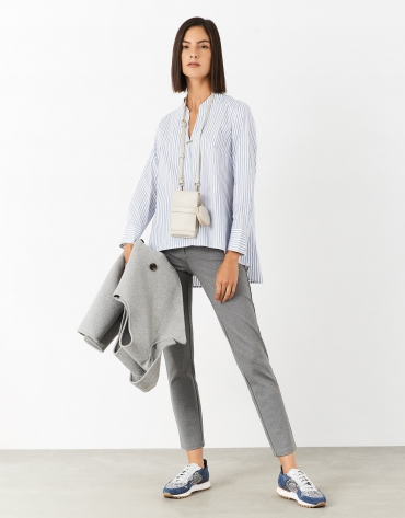 Blue and gray striped shirt with Mao collar and slit