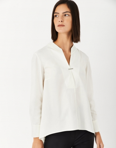 White shirt with large Mao collar and slit