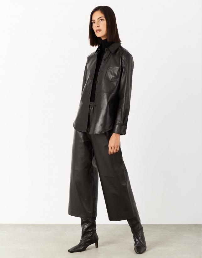 Dark brown leather shirt