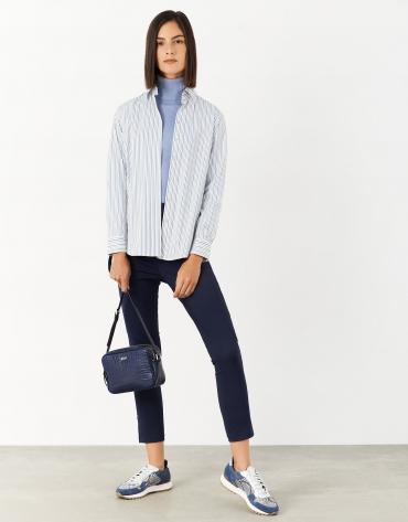 Camisa corte masculino rayas azul/beige