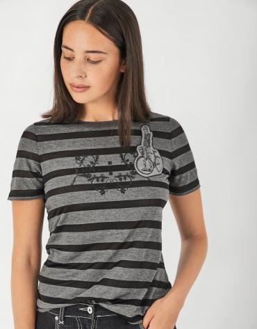Camiseta rayas semitransparente negra