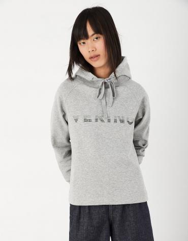 Gray sweatshirt with hood and VERINO in strass