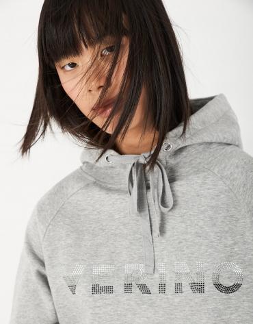 Sudadera capucha gris con strass de VERINO