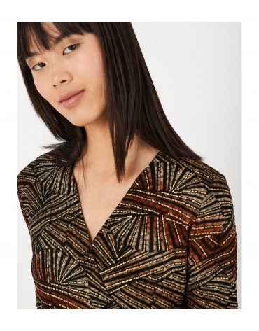 Knit top with red and gold print
