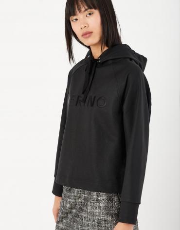 Black neoprene sweatshirt with hood and VERINO logo