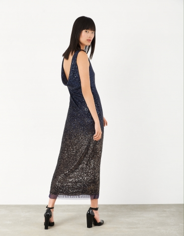 Long midnight blue dress with sequins